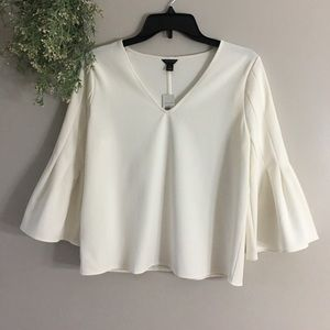 Ann Taylor Cream Bell Sleeve Top